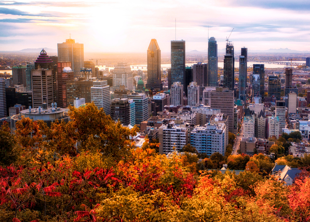 Montreal skyline during a fall sunset