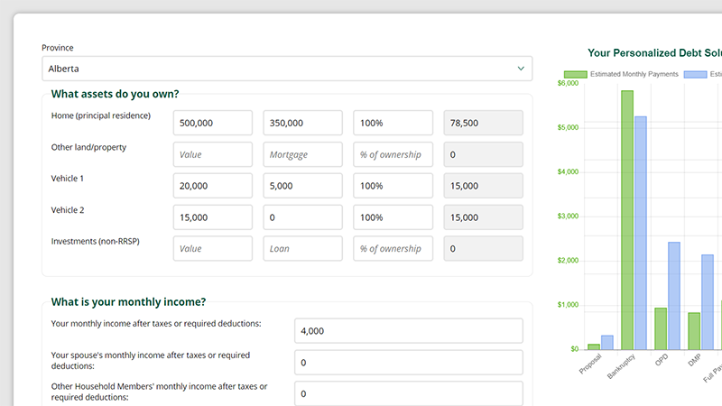 Debt Calculator screen grab