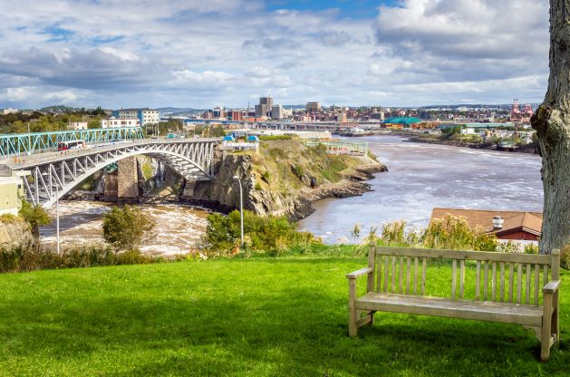 View of Saint John from a park overlooking the water