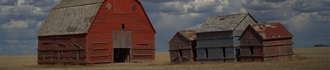 Faded red barns